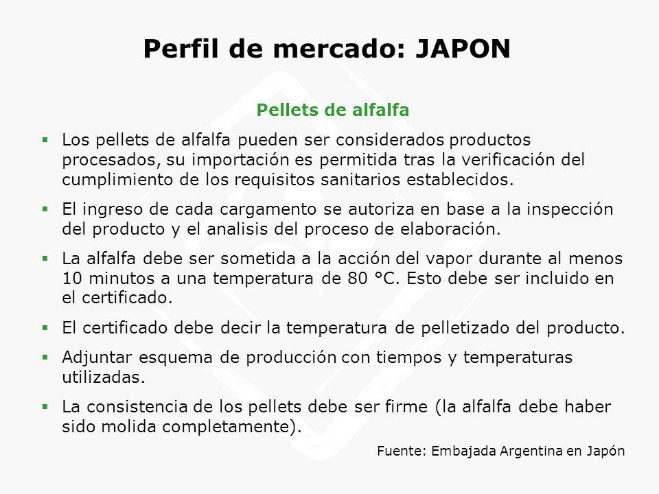 Perfil de mercado: JAPON Pellets de alfalfa Los pellets de alfalfa pueden ser considerados productos procesados, su importación es permitida tras la v