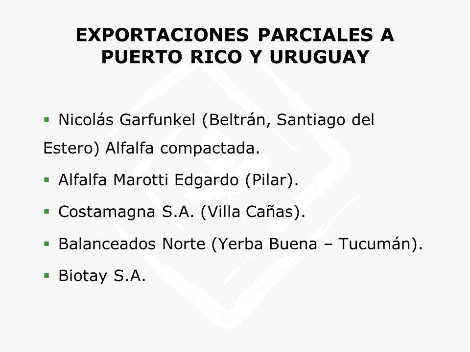 EXPORTACIONES PARCIALES A PUERTO RICO Y URUGUAY Nicolás Garfunkel (Beltrán, Santiago del Estero) Alfalfa compactada. Alfalfa Marotti Edgardo (Pilar).