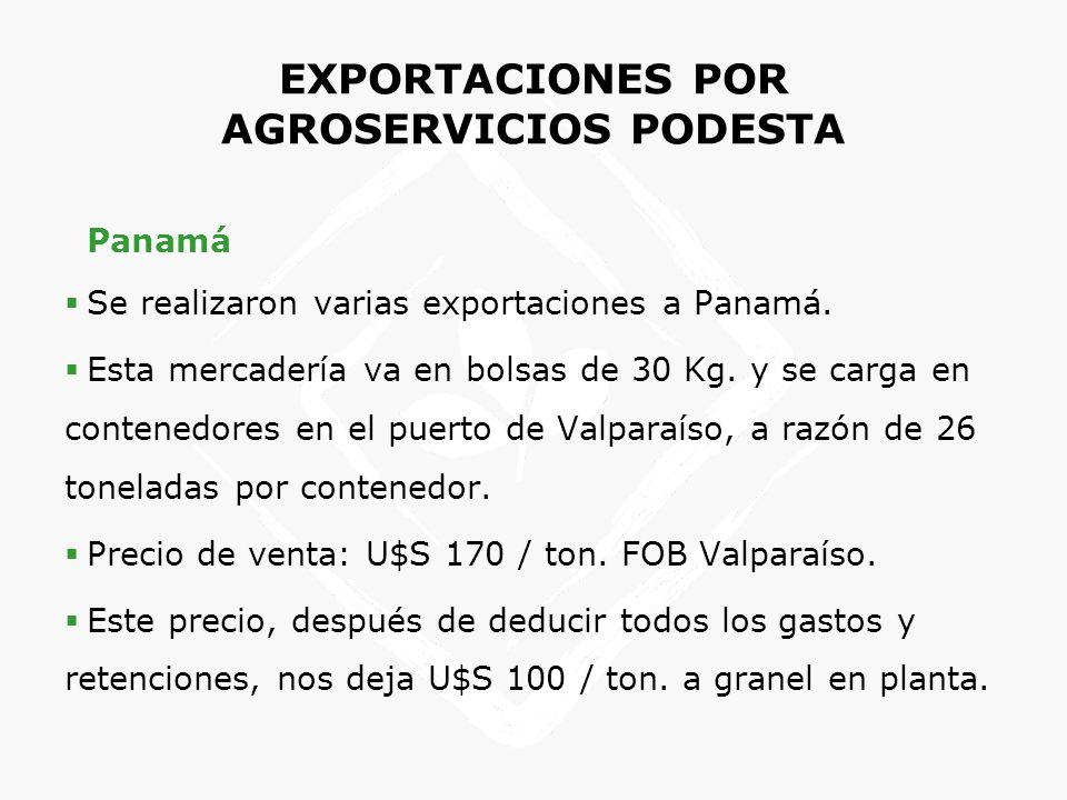 EXPORTACIONES POR AGROSERVICIOS PODESTA Panamá Se realizaron varias exportaciones a Panamá. Esta mercadería va en bolsas de 30 Kg. y se carga en conte