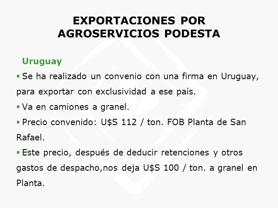 EXPORTACIONES POR AGROSERVICIOS PODESTA Uruguay Se ha realizado un convenio con una firma en Uruguay, para exportar con exclusividad a ese país. Va en
