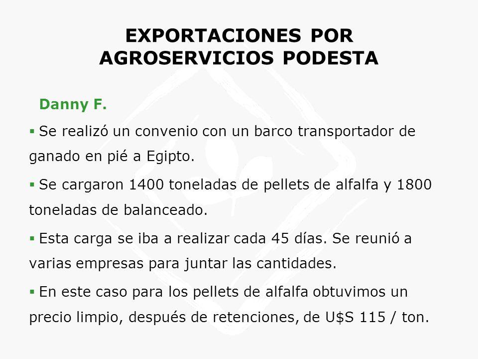 EXPORTACIONES POR AGROSERVICIOS PODESTA Danny F. Se realizó un convenio con un barco transportador de ganado en pié a Egipto. Se cargaron 1400 tonelad