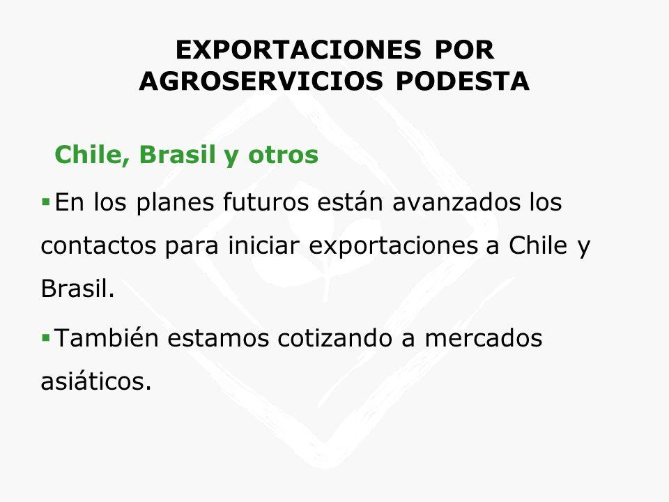 EXPORTACIONES POR AGROSERVICIOS PODESTA Chile, Brasil y otros En los planes futuros están avanzados los contactos para iniciar exportaciones a Chile y