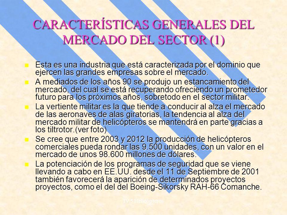 IV.5 Helicópteros INDUSTRIA AEROESPACIAL MERCADO DEL HELICÓPTERO EN ESPAÑA Y EN EUROPA