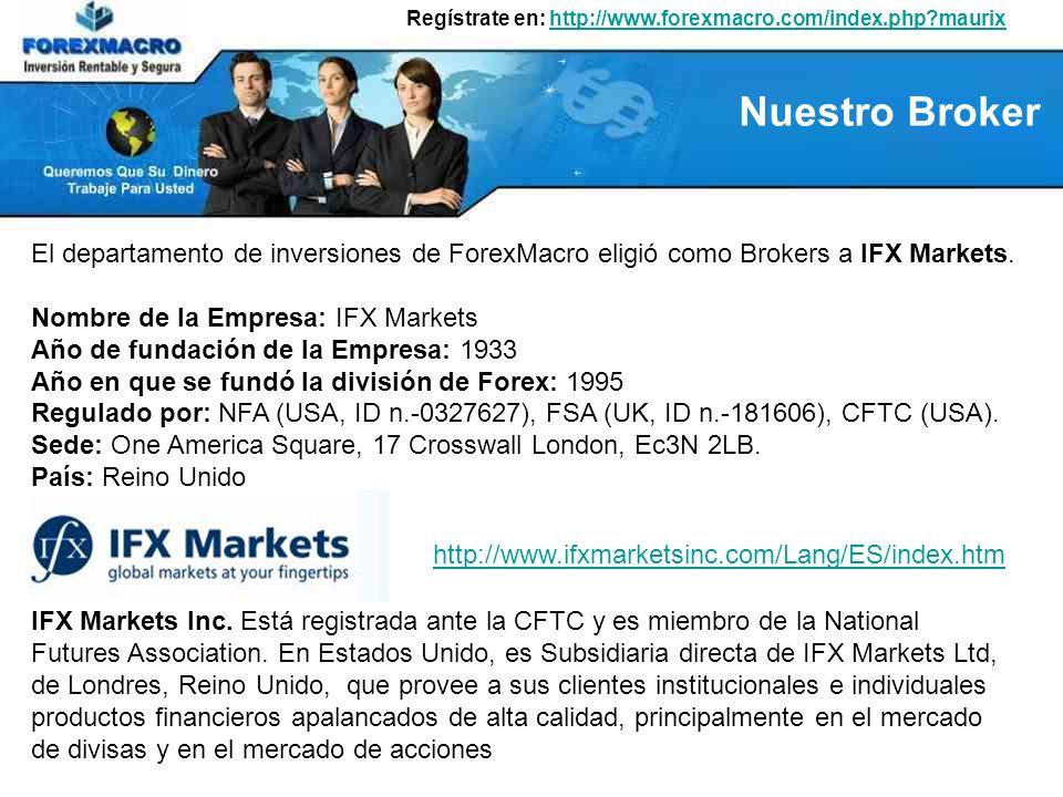 Regístrate en: http://www.forexmacro.com/index.php?maurixhttp://www.forexmacro.com/index.php?maurix Planes de Inversión y su Rentabilidad ForexMacro le ofrece 3 planes de Inversión: Plan Diario Inversión: desde 50 hasta 50.999 USD Rentabilidad: 0,60% diario (18% mes) Tiempo de Inversión: 180 días Plan Semanal Inversión: desde 51.000 hasta 100.999 USD Rentabilidad: 0,7% diario Tiempo de Inversión: 52 semanas (Incluye Capital) Plan Mensual Inversión: desde 101.000 hasta 1000.000 USD Rentabilidad: 0,8% diario Tiempo de Inversión: 12 meses (Incluye Capital) El Plan semanal y mensual lleva incluido su capital inicial.