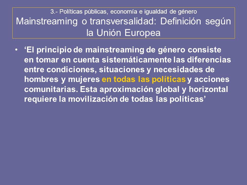 3.- Políticas públicas, economía e igualdad de género Mainstreaming o transversalidad: Definición según la Unión Europea El principio de mainstreaming
