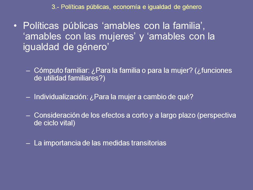 Políticas públicas amables con la familia, amables con las mujeres y amables con la igualdad de género –Cómputo familiar: ¿Para la familia o para la m