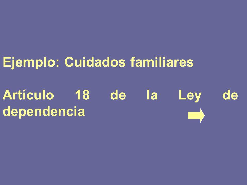 Ejemplo: Cuidados familiares Artículo 18 de la Ley de dependencia