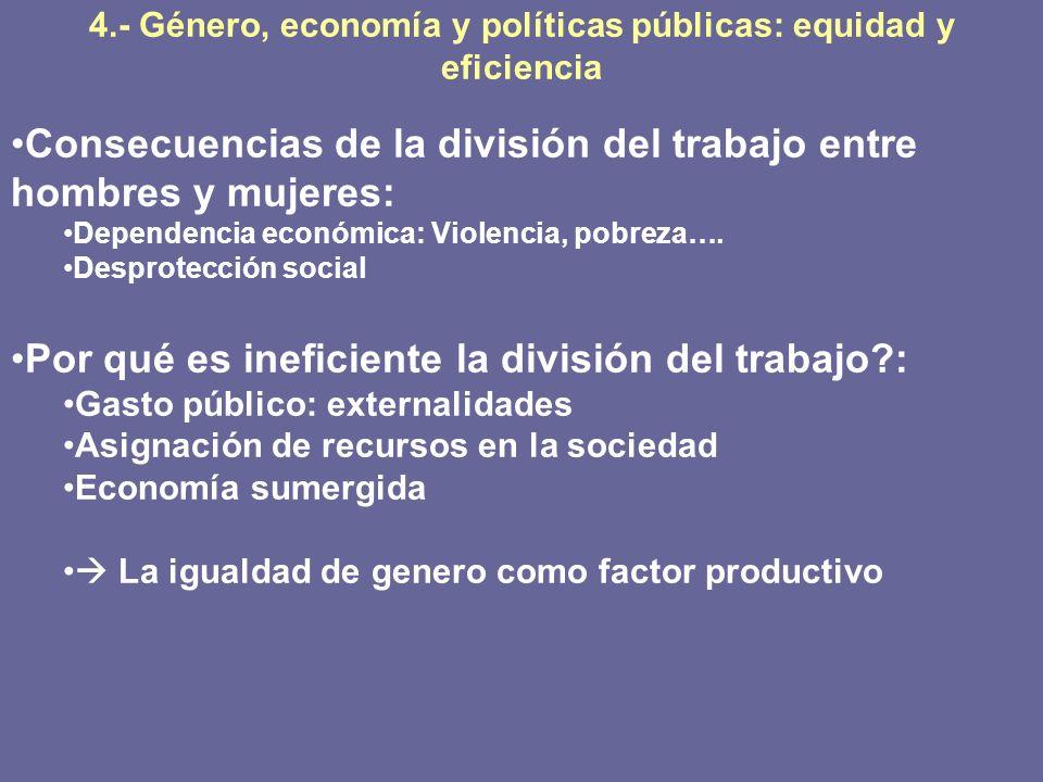 4.- Género, economía y políticas públicas: equidad y eficiencia Consecuencias de la división del trabajo entre hombres y mujeres: Dependencia económic