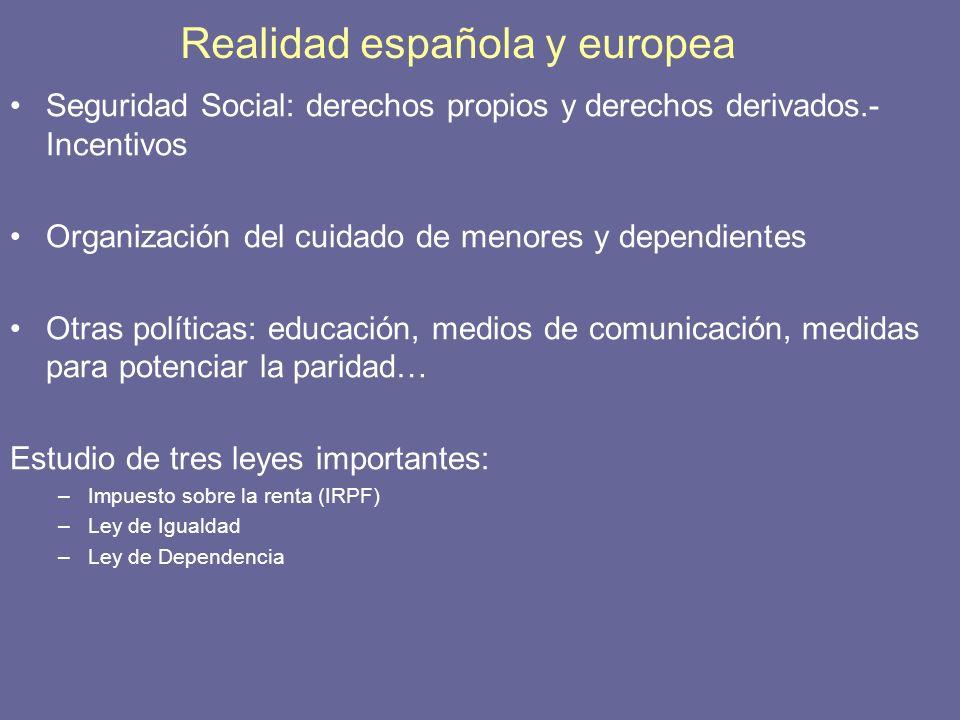 Realidad española y europea Seguridad Social: derechos propios y derechos derivados.- Incentivos Organización del cuidado de menores y dependientes Ot