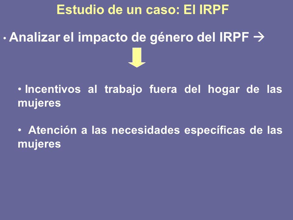 Estudio de un caso: El IRPF Analizar el impacto de género del IRPF Incentivos al trabajo fuera del hogar de las mujeres Atención a las necesidades esp