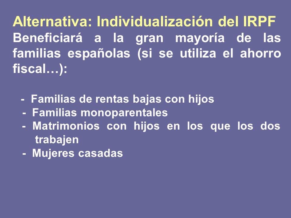 Alternativa: Individualización del IRPF Beneficiará a la gran mayoría de las familias españolas (si se utiliza el ahorro fiscal…): - Familias de renta