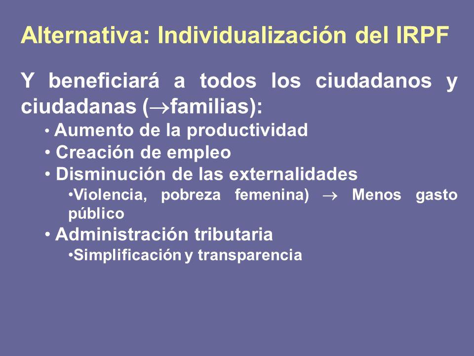 Alternativa: Individualización del IRPF Y beneficiará a todos los ciudadanos y ciudadanas ( familias): Aumento de la productividad Creación de empleo