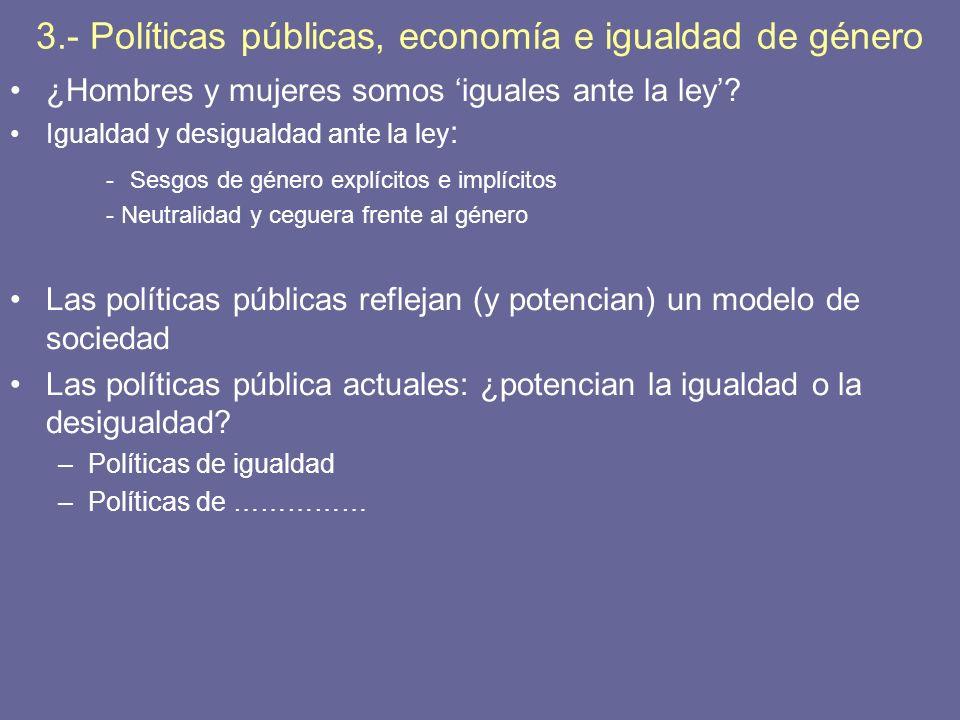 3.- Políticas públicas, economía e igualdad de género ¿Hombres y mujeres somos iguales ante la ley? Igualdad y desigualdad ante la ley : -Sesgos de gé