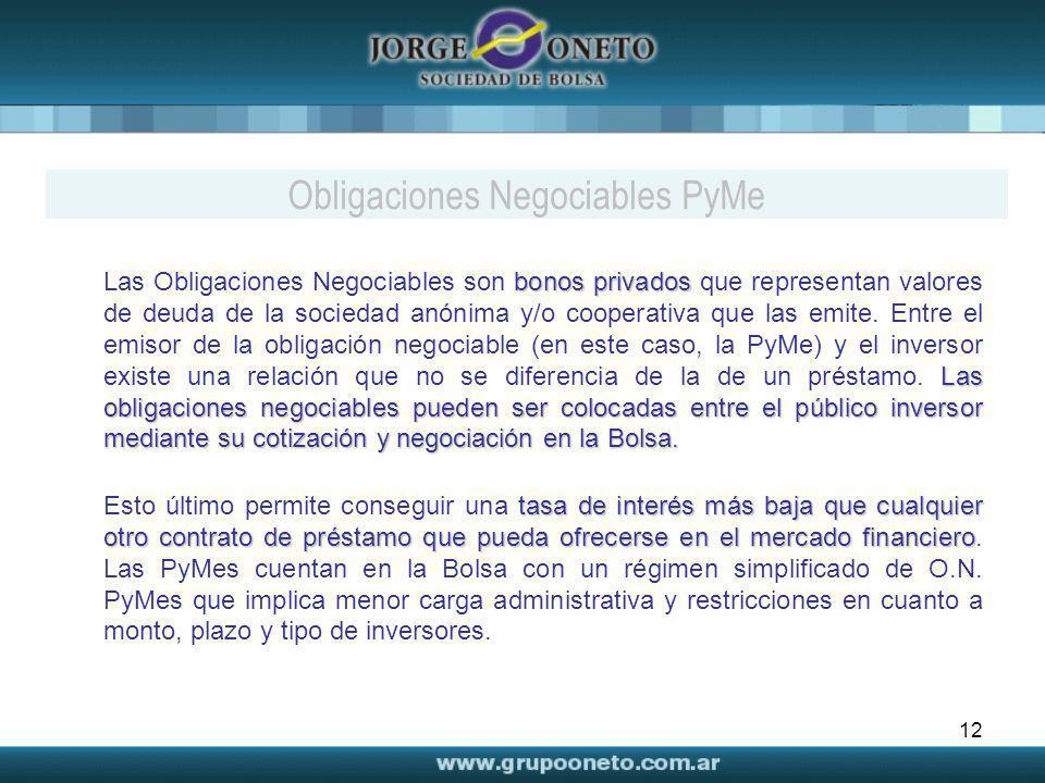 12 bonos privados Las obligaciones negociables pueden ser colocadas entre el público inversor mediante su cotización y negociación en la Bolsa. Las Ob