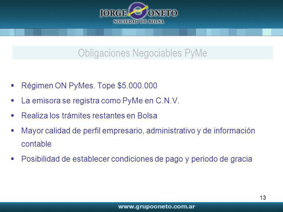 13 Régimen ON PyMes. Tope $5.000.000 La emisora se registra como PyMe en C.N.V. Realiza los trámites restantes en Bolsa Mayor calidad de perfil empres