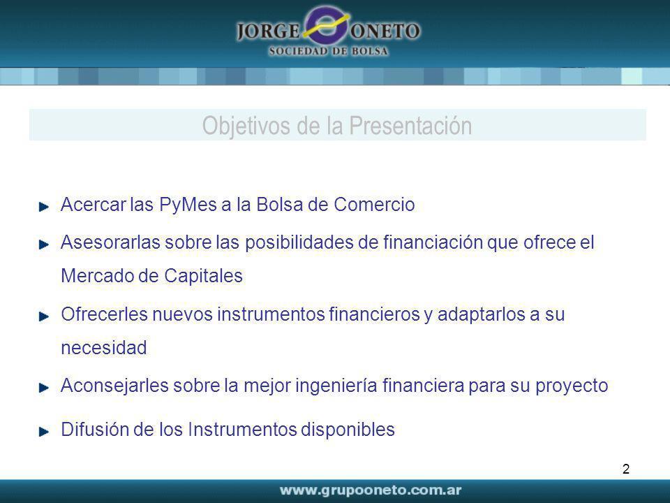 2 Acercar las PyMes a la Bolsa de Comercio Asesorarlas sobre las posibilidades de financiación que ofrece el Mercado de Capitales Ofrecerles nuevos in