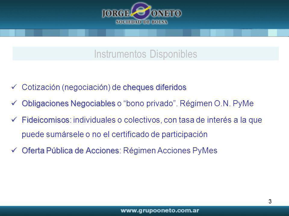 3 cheques diferidos Cotización (negociación) de cheques diferidos Obligaciones Negociables Obligaciones Negociables o bono privado. Régimen O.N. PyMe