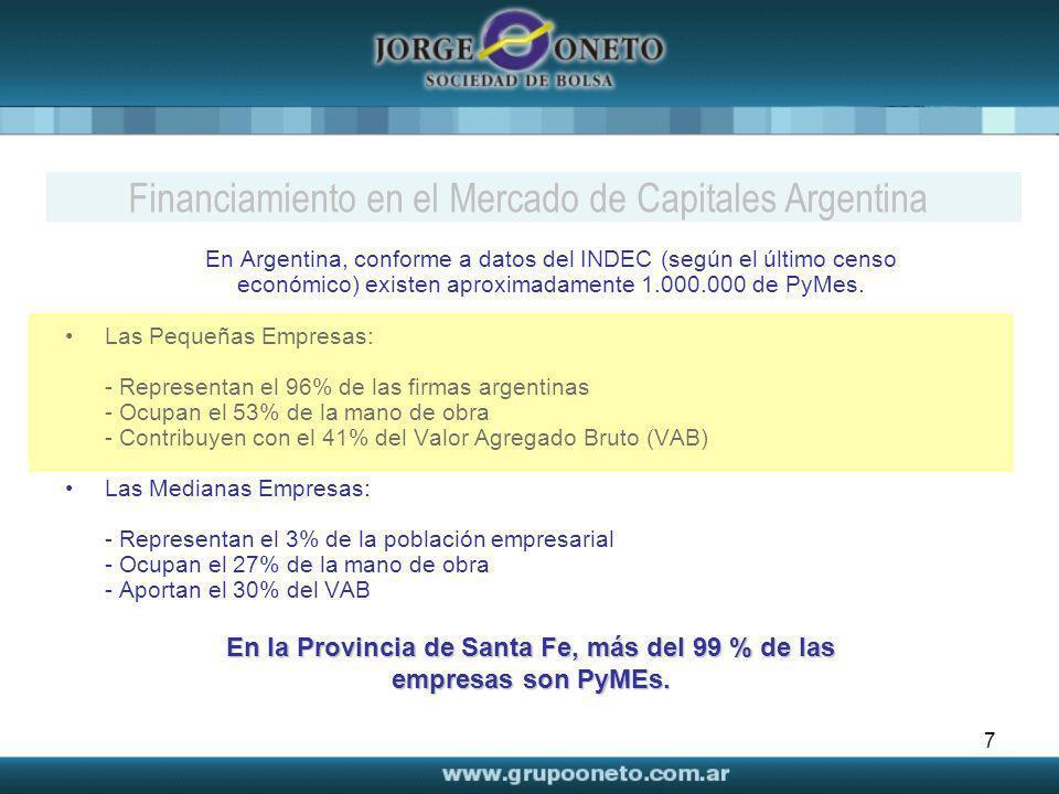 7 Financiamiento en el Mercado de Capitales Argentina En Argentina, conforme a datos del INDEC (según el último censo económico) existen aproximadamen