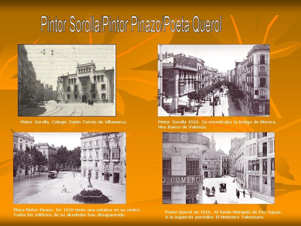 Fachada almacén B. Abascal en la Plaza del Mercado Guillem de Casto Años 20. Museo San Pío 1915. Entonces Hospital Militar. Cúpula destruida en 1925.