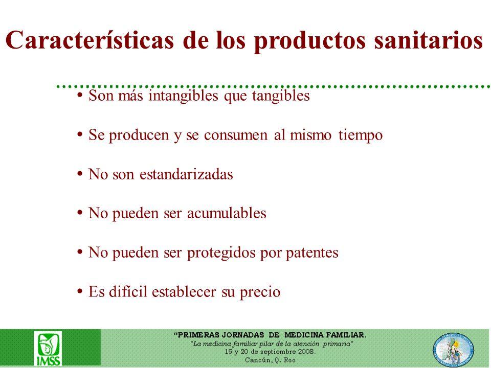Características de los productos sanitarios Son más intangibles que tangibles Se producen y se consumen al mismo tiempo No son estandarizadas No puede