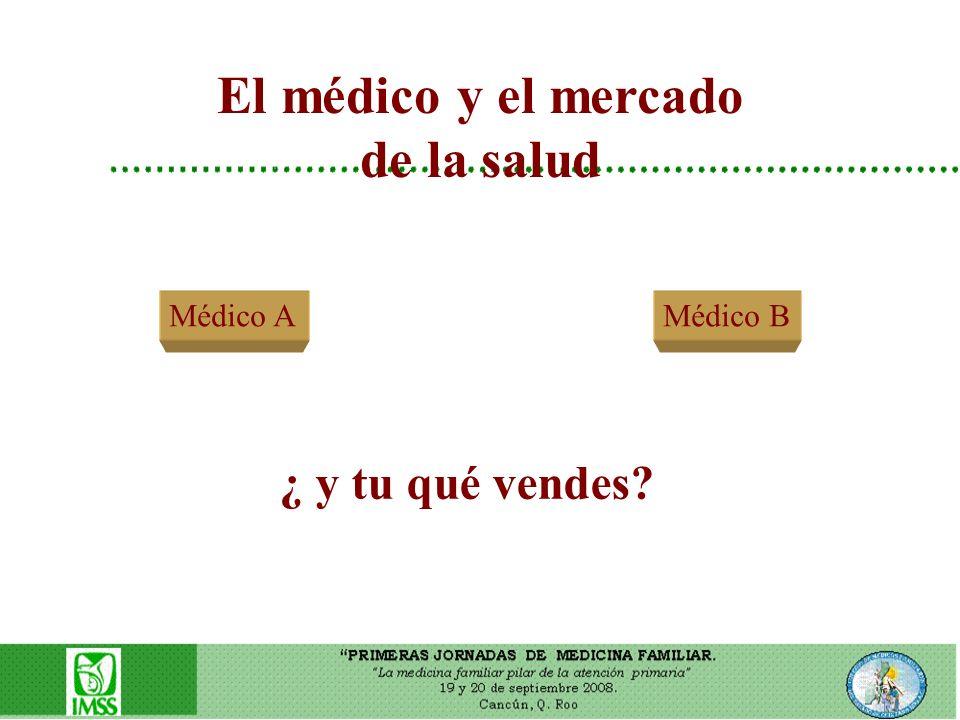 El médico y el mercado de la salud Médico A ¿ y tu qué vendes? Médico B
