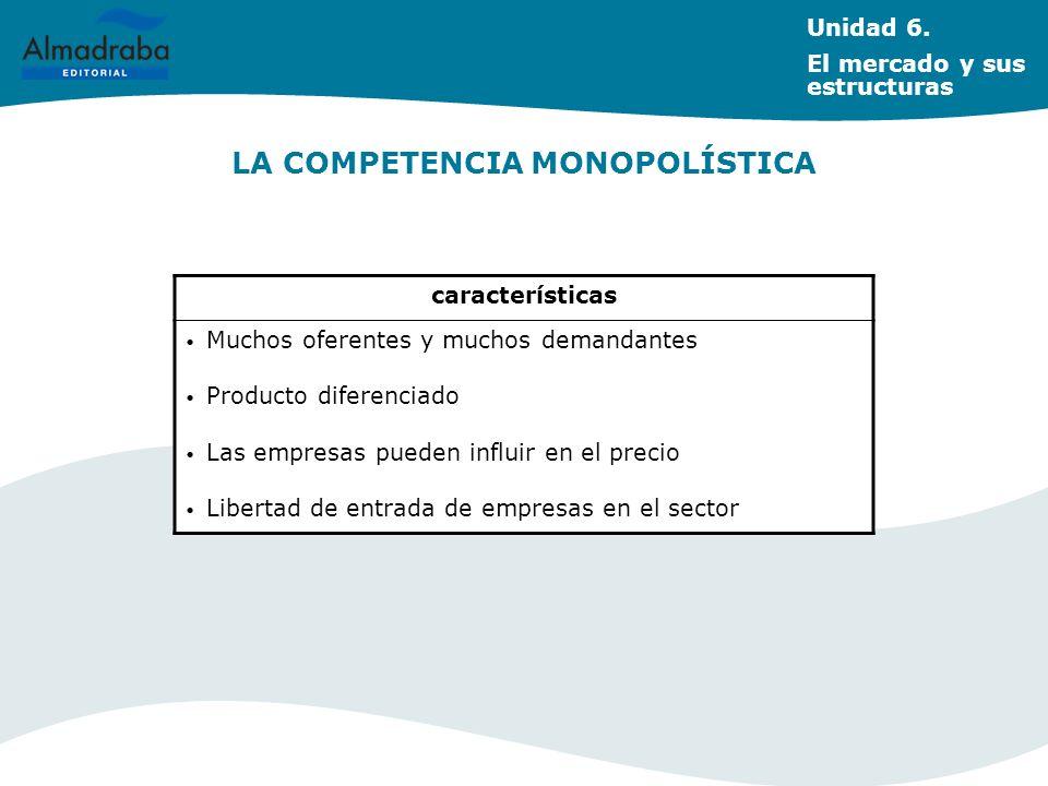 LA COMPETENCIA MONOPOLÍSTICA Unidad 6. El mercado y sus estructuras características Muchos oferentes y muchos demandantes Producto diferenciado Las em