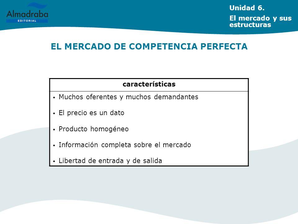 EL MERCADO DE COMPETENCIA PERFECTA Unidad 6. El mercado y sus estructuras características Muchos oferentes y muchos demandantes El precio es un dato P