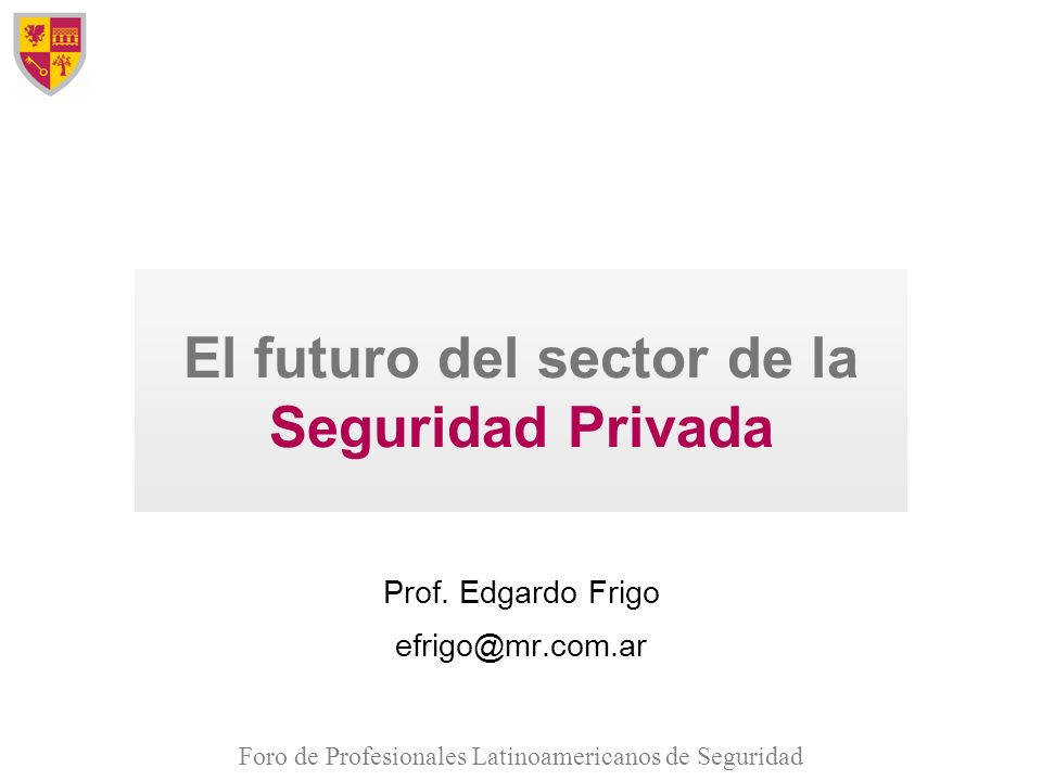 Foro de Profesionales Latinoamericanos de Seguridad El futuro del sector de la Seguridad Privada Prof. Edgardo Frigo efrigo@mr.com.ar