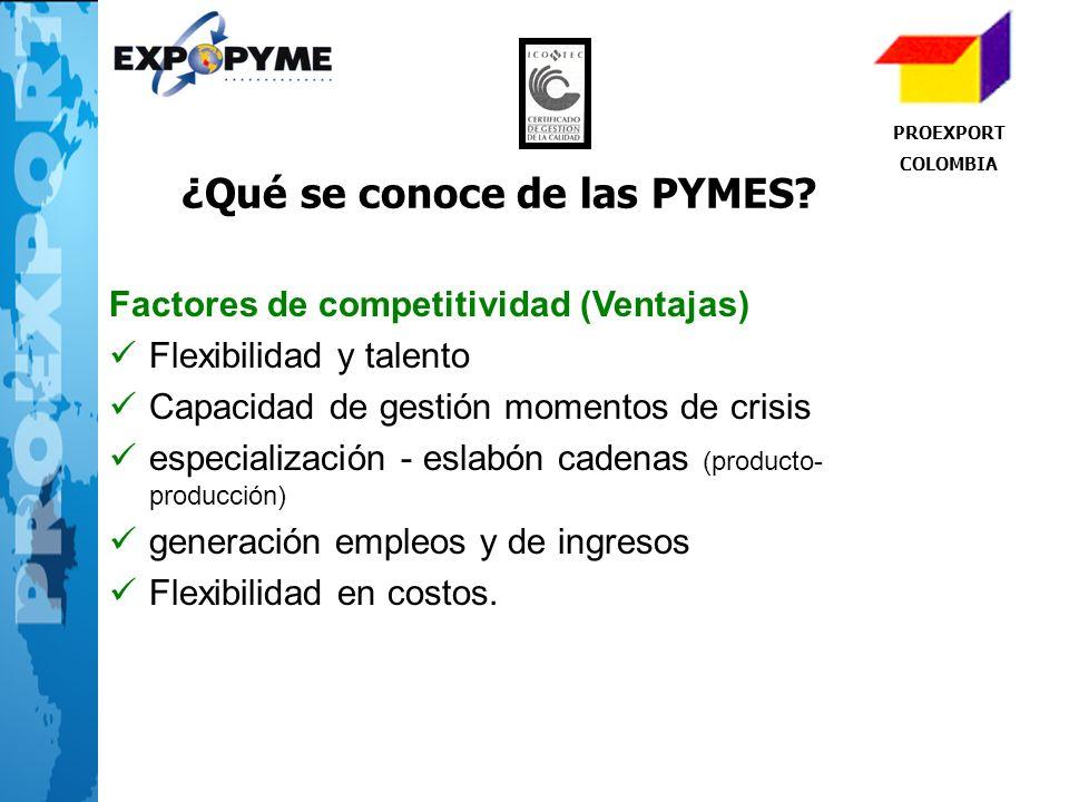 PROEXPORT COLOMBIA ¿Qué se conoce de las PYMES? Factores de competitividad (Ventajas) Flexibilidad y talento Capacidad de gestión momentos de crisis e