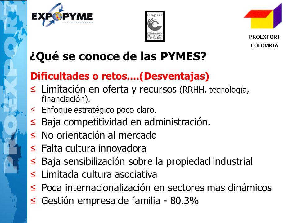 PROEXPORT COLOMBIA ¿Qué se conoce de las PYMES? Dificultades o retos....(Desventajas) Limitación en oferta y recursos (RRHH, tecnología, financiación)