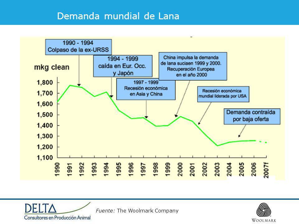 Demanda mundial de Lana Fuente: The Woolmark Company