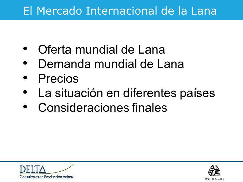 El Mercado Internacional de la Lana Oferta mundial de Lana Demanda mundial de Lana Precios La situación en diferentes países Consideraciones finales
