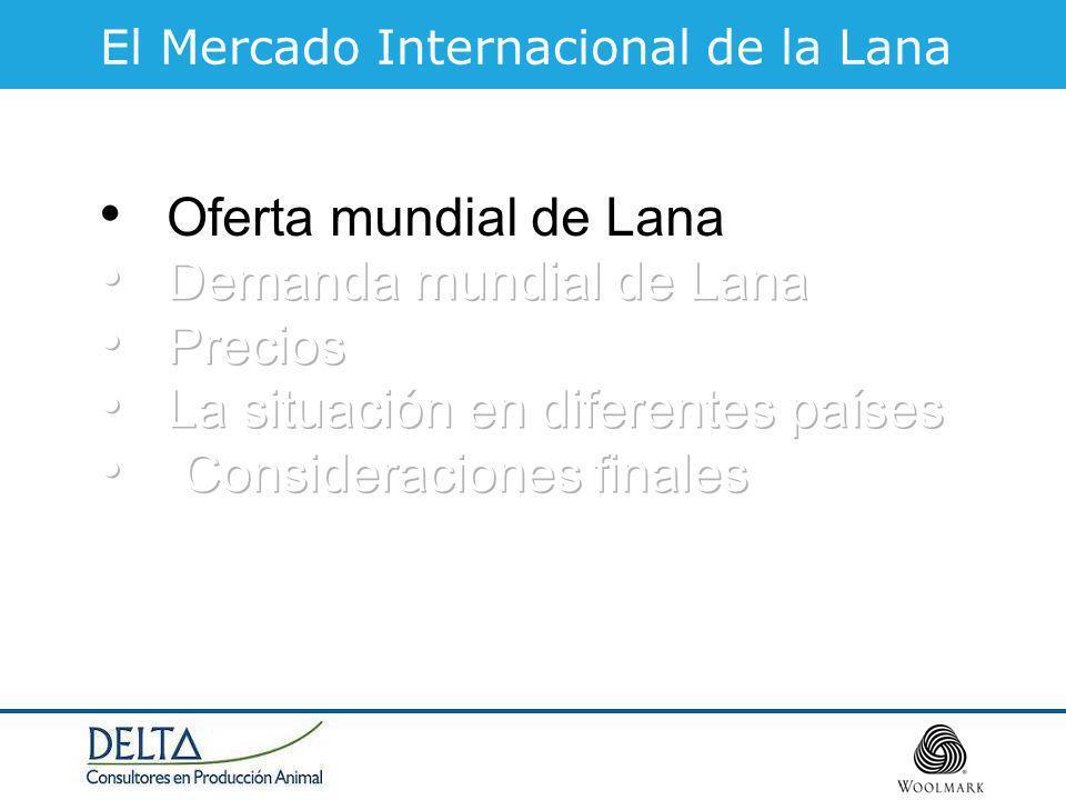 Fuente: TWCo TipoMicras Superfina 19.5 Fina 24.9 Media25 – 32 Gruesa 32 Producción Mundial de Lana Total 2006/07 – 1.197 mkg limpia
