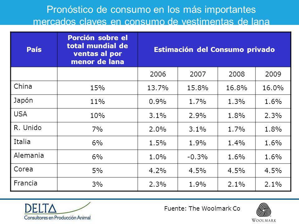 Fuente: The Woolmark Co Pronóstico de consumo en los más importantes mercados claves en consumo de vestimentas de lana País Porción sobre el total mundial de ventas al por menor de lana Estimación del Consumo privado 2006200720082009 China 15%13.7%15.8%16.8%16.0% Japón 11%0.9%1.7%1.3%1.6% USA 10%3.1%2.9%1.8%2.3% R.