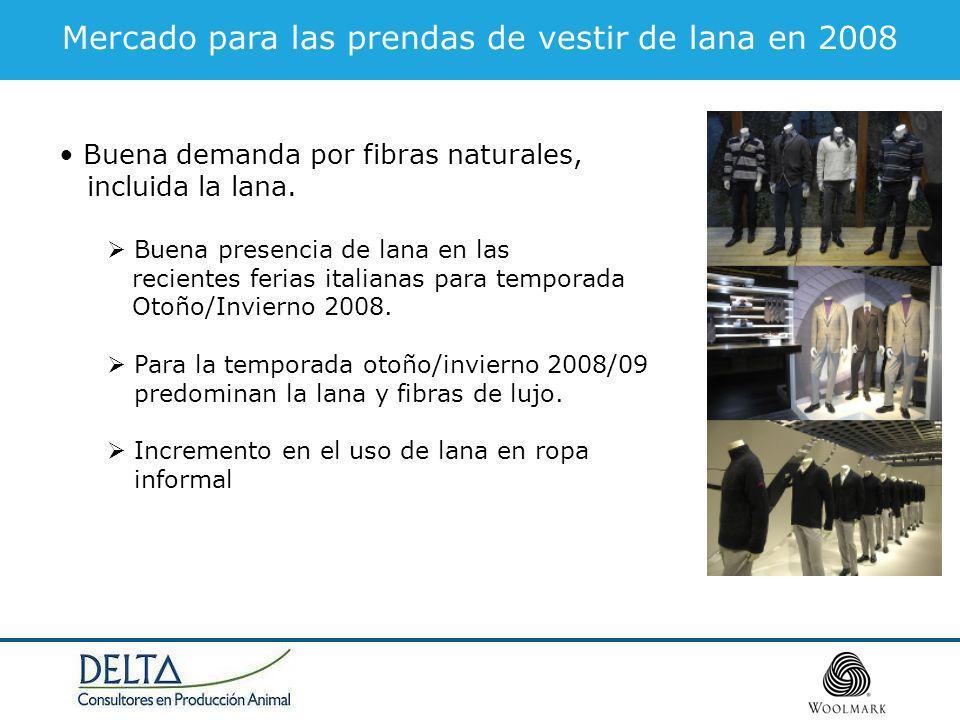Mercado para las prendas de vestir de lana en 2008 Buena demanda por fibras naturales, incluida la lana. Buena presencia de lana en las recientes feri