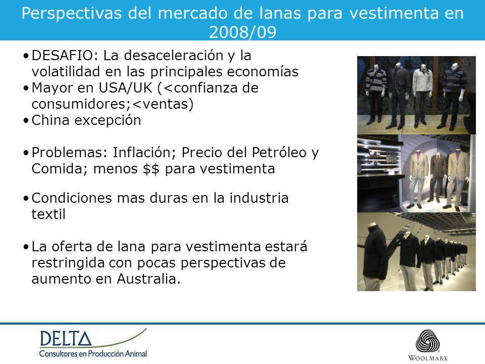Perspectivas del mercado de lanas para vestimenta en 2008/09 DESAFIO: La desaceleración y la volatilidad en las principales economías Mayor en USA/UK (<confianza de consumidores;<ventas) China excepción Problemas: Inflación; Precio del Petróleo y Comida; menos $$ para vestimenta Condiciones mas duras en la industria textil La oferta de lana para vestimenta estará restringida con pocas perspectivas de aumento en Australia.