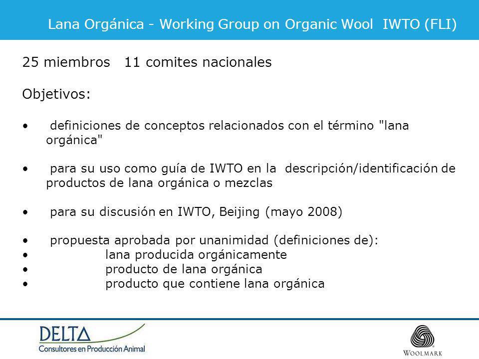 Lana Orgánica - Working Group on Organic Wool IWTO (FLI) 25 miembros 11 comites nacionales Objetivos: definiciones de conceptos relacionados con el término lana orgánica para su uso como guía de IWTO en la descripción/identificación de productos de lana orgánica o mezclas para su discusión en IWTO, Beijing (mayo 2008) propuesta aprobada por unanimidad (definiciones de): lana producida orgánicamente producto de lana orgánica producto que contiene lana orgánica