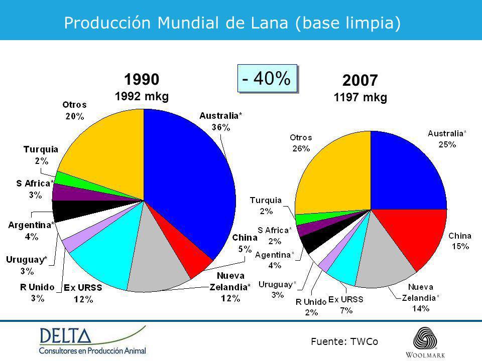 (c) datos año calendario 2007/08 = 2008.Fuentes: The Woolmark Company.