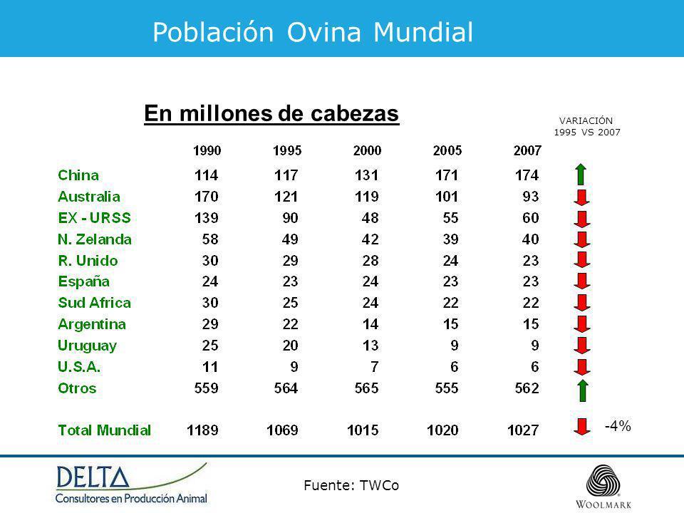 En millones de cabezas Fuente: TWCo Población Ovina Mundial VARIACIÓN 1995 VS 2007 -4%