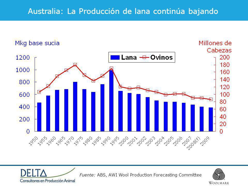 Fuente:TWCo Producción en base zafral. 2007 = 2006/2007. Oferta Mundial de Lana (base limpia)