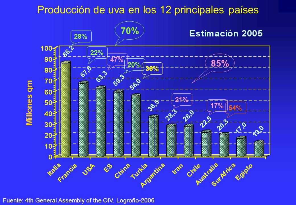 Producción de uva en los 12 principales países Fuente: 4th General Assembly of the OIV. Logroño-2006 28% 36% 47% 54% 22% 20% 70% 21% 17% 85%