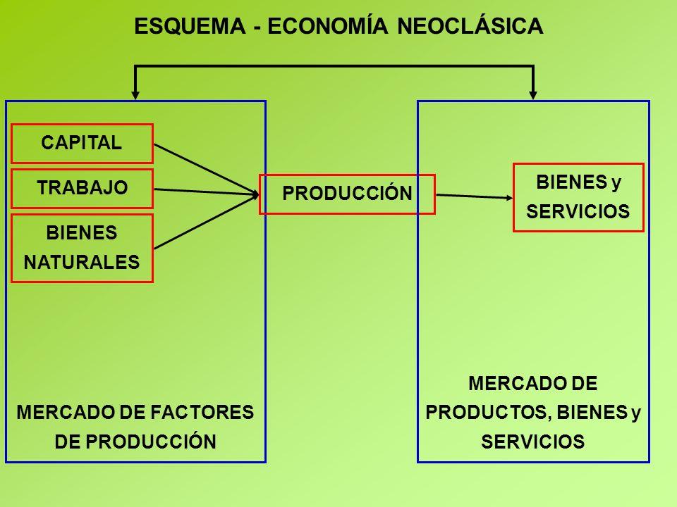 ESQUEMA - ECONOMÍA NEOCLÁSICA CAPITAL TRABAJO MERCADO DE FACTORES DE PRODUCCIÓN BIENES NATURALES BIENES y SERVICIOS PRODUCCIÓN MERCADO DE PRODUCTOS, BIENES y SERVICIOS