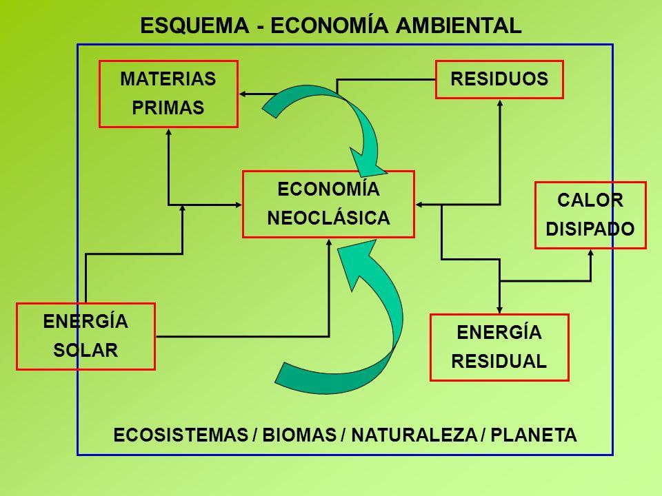 ESQUEMA - ECONOMÍA AMBIENTAL ECOSISTEMAS / BIOMAS / NATURALEZA / PLANETA MATERIAS PRIMAS ENERGÍA SOLAR RESIDUOS ECONOMÍA NEOCLÁSICA ENERGÍA RESIDUAL CALOR DISIPADO