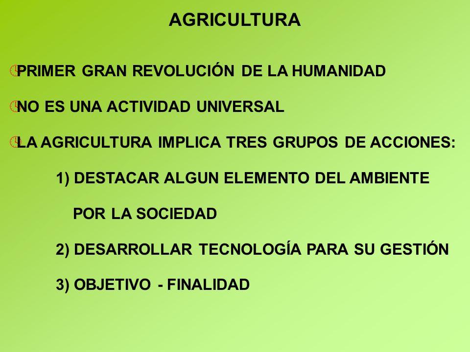AGRICULTURA ºPRIMER GRAN REVOLUCIÓN DE LA HUMANIDAD ºNO ES UNA ACTIVIDAD UNIVERSAL ºLA AGRICULTURA IMPLICA TRES GRUPOS DE ACCIONES: 1) DESTACAR ALGUN ELEMENTO DEL AMBIENTE POR LA SOCIEDAD 2) DESARROLLAR TECNOLOGÍA PARA SU GESTIÓN 3) OBJETIVO - FINALIDAD