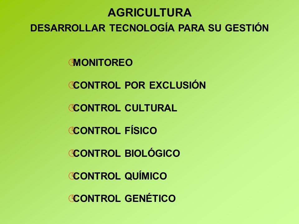 ºMONITOREO ºCONTROL POR EXCLUSIÓN ºCONTROL CULTURAL ºCONTROL FÍSICO ºCONTROL BIOLÓGICO ºCONTROL QUÍMICO ºCONTROL GENÉTICO AGRICULTURA DESARROLLAR TECNOLOGÍA PARA SU GESTIÓN