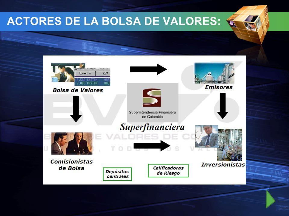 ACTORES DE LA BOLSA DE VALORES: