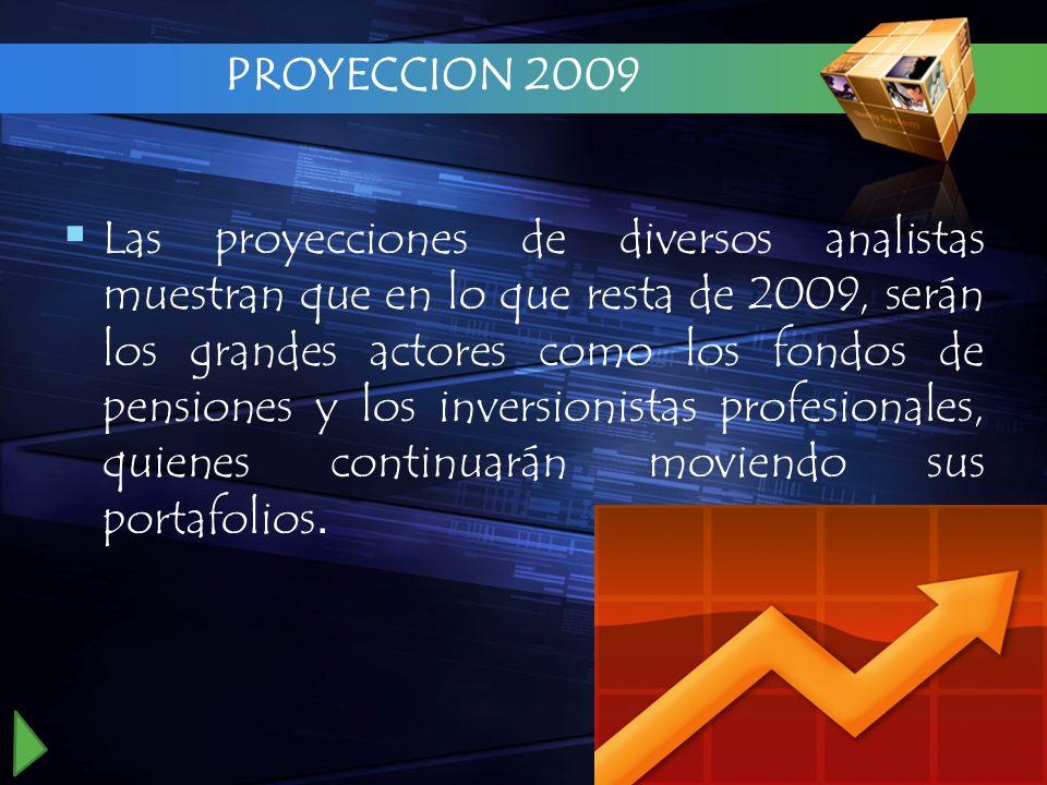 PROYECCION 2009 Las proyecciones de diversos analistas muestran que en lo que resta de 2009, serán los grandes actores como los fondos de pensiones y