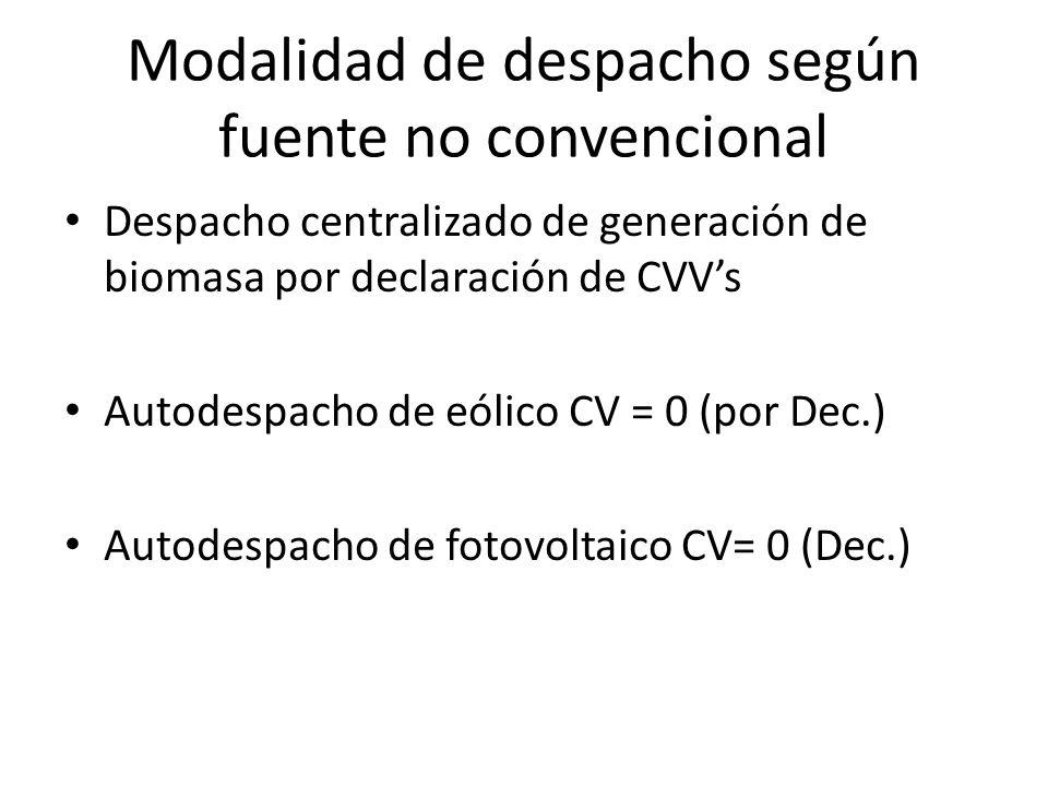 Modalidad de despacho según fuente no convencional Despacho centralizado de generación de biomasa por declaración de CVVs Autodespacho de eólico CV =