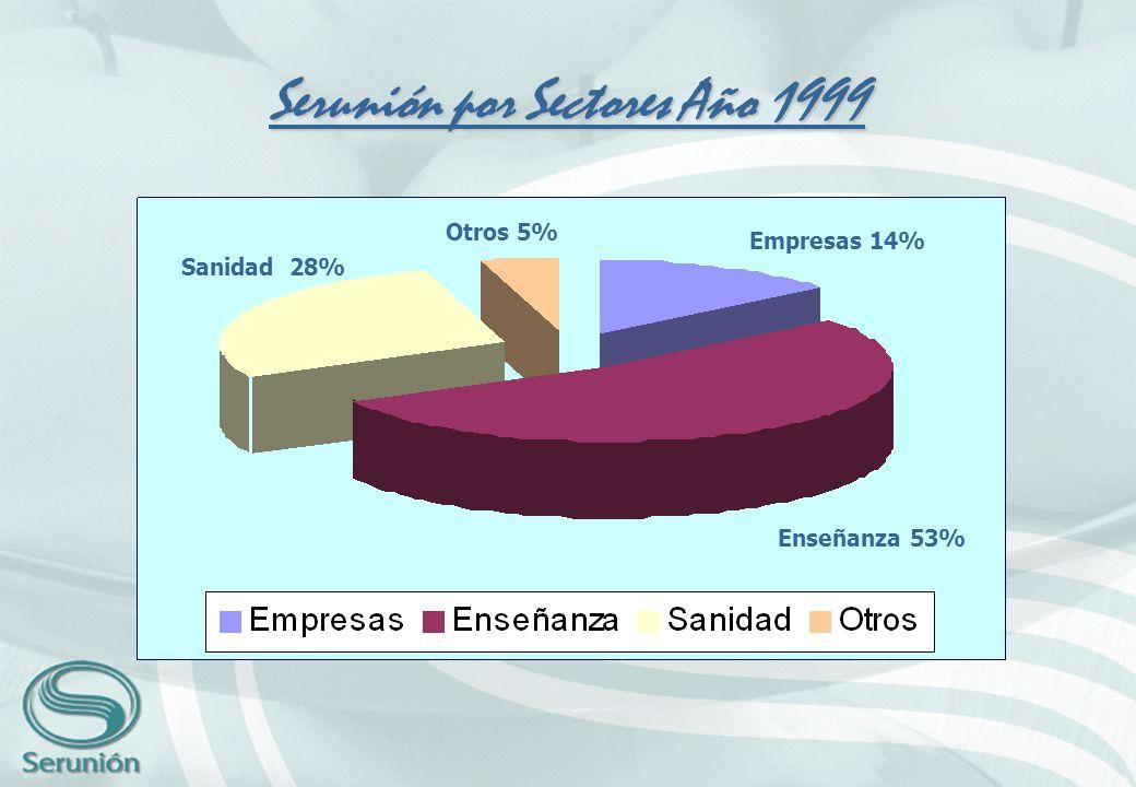 Serunión por Sectores Año 1999 Sanidad 28% Otros 5% Empresas 14% Enseñanza 53%