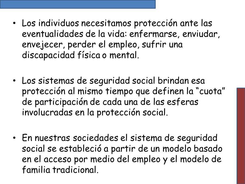 Los individuos necesitamos protección ante las eventualidades de la vida: enfermarse, enviudar, envejecer, perder el empleo, sufrir una discapacidad f